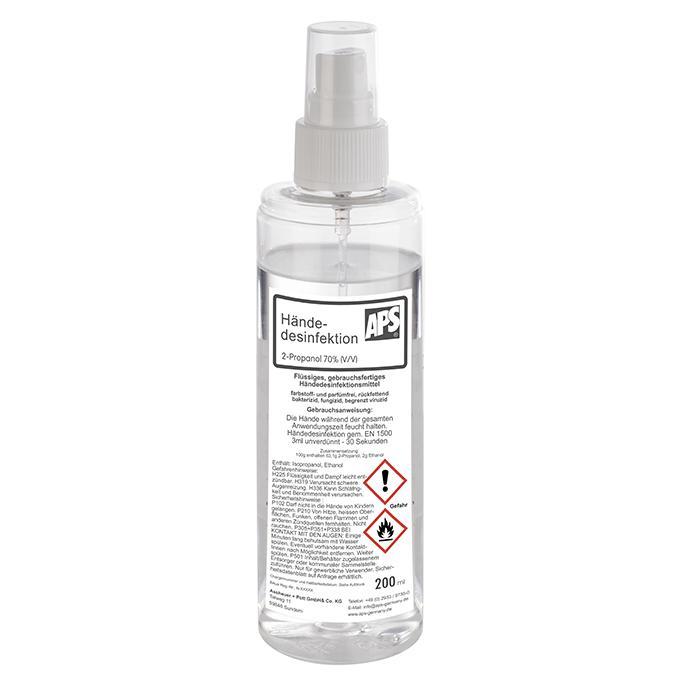 Desinfektionsmittel mit Sprühaufsatz und Schutzkappe für Hände